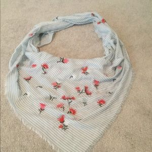 J.Jill embroidered triangle scarf